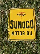 Vintage Sunoco Oil Mercury Made 12andrdquo Porcelain Metal Gasoline And Oil Pump Ad Sign