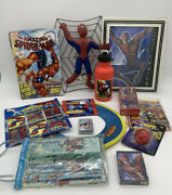 Spider-man Toy Junk Drawer Nerd Lot All Stationary Water Bottle Cards Picture