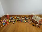 Lot Of 154 Vintage Fisher Price Little People, Farm House And Accessories.