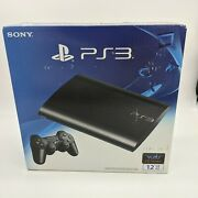 Sony Playstation 3 12gb Super Slim Console Black Ps3 Cech-4301a New And Sealed