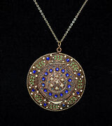 Absolutely Magnificent Antique French Jeweled Pearls And Enamel Compact Necklace