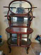 Antique Early 19th Century Curved Bowed Glass Display China Cabinet