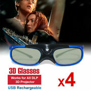 4x Active 3d Glasses Shutter For All Dlp Link Projector Optoma Hd243x Benq Acer