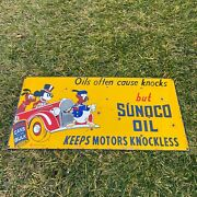 Vintage Sunoco Oil 24x12andrdquo Mickey Pluto Porcelain Metal Gas And Oil Pump Ad Sign