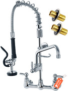 Agahpay Commercial Kitchen Sink Faucet With Pre Rinse Sprayer 8 Adjustable Cente