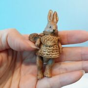 622 Antique German Hertwig Mama Rabbit In Brown Outfit W Basket And Apron, 2 5/8