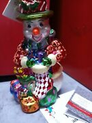 Christopher Radko Christmas Ornaments Snowman With Gifts Stocking And Green Hat