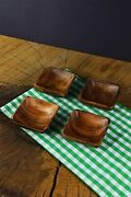 Handmade Wood Carved Plates - Set Of 4 Bowls Size 4 Square