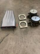 Edelbrock Dual Carb Set-up And Scoop With Linkage Tunnel Ram Blower