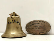 Salvaged Old Vintage Chapora Nautical Bell And Hooghly Docking Brass Plaque