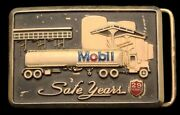 Ph04110 Vintage 1980s Mobil 29 Year Safety Award Tank Truck Oilfield Buckle