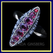 Antique Victorian French Navette Ring 18k Gold Rose Diamonds Rubies Silver7007