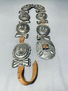 1920and039s/30and039s Vintage Navajo Hand Tooled Sterling Silver Concho Belt