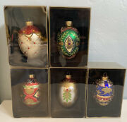 Set Of 5 Russian Inspired Egg Christmas Ornaments W/ Box - Beautifully Decorated
