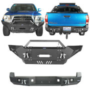 Dazzle Front Winch Bumper+rear Hitch Bumper For Toyota Tacoma 2005-2015 2nd Gen