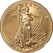 2007-w Gold American Eagle 50 Ngc Ms70 Burnished Brown Label - Stock