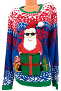Jolly Sweaters Blue Red Santa Claus Long Sleeve Ugly Christmas Sweater Xxl