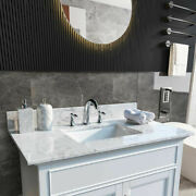 Bathroom Marble Vanity Top Stone W/ Rectangle Undermount Sink And Faucet Hole