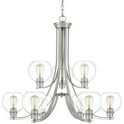 Quoizel Pruc5034 Nickel Pruitt 9-light 34w Chandelier With Clear Glass Shades