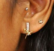 14k Solid Gold Dragonfly Earring Insect Jewelry Studs Remembrance Jewelry Charm.