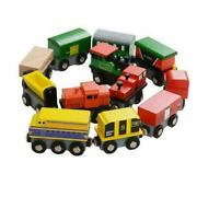 12 Piece Wooden Train Cars Magnetic Set Compatible With Wood Toy Railroad