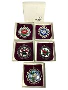Vtg Wallace Lunt Sterling Silver Enamel Christmas Ornaments 1986-1990 W/ Boxes