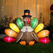 5ft Height Thanksgiving Inflatable Led Lighted Turkey With Hat Blow Up Outdoor