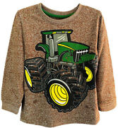 New John Deere Toddler Brown Long Sleeve Tractor T-shirt Sizes 2t 3t 4t