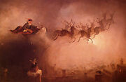 Santa Claus Sleigh And Reindeer Christmas Painting By Beard Paper Repro 10x16