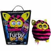 Furby Boom Interactive Pink Black Straight Stripes Yellow Hasbro Tested Working