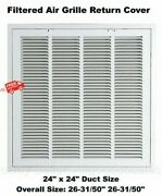 Return Vent Cover 24 X 24 White Filtered Air Grille Removable Face Wall Ceiling