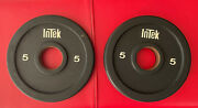 One Pair Of 5 Lb Intek Olympic Size Weight Plates Used 2 Urethane 10 Lb Total