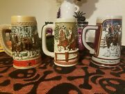 Vintage 1980s Budweiser Christmas Clydesdales Holiday Beer Stein Mugs Collector
