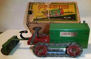 Early Structo Toys Wind-up Caterpillar 44 Cletrac Tractor 20and039s Works W/box