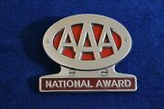 Vintage Aaa National Award Grille Badge Bumper License Plate Topper Auto