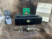 2015 313087 Jagdnicker 240 Knife Stag Handles Leather Sheath Mint In Box P3