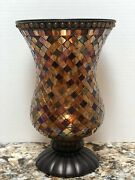 Partylite Global Fusion Hurricane Stained Mosaic Glass Tile Candle Holder P8366