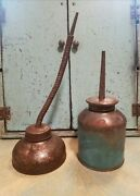 Lot Of 2 Antique Vintage Thumb Pump Hand Oil Oiler Oiling Lubrication Cans