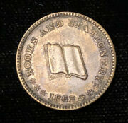 1863 Cwt Civil War Token Store Card Aj Viele Books And Stationery Pianos Sewing Xf