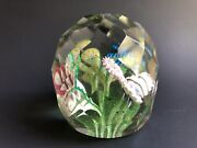 Large Antique Czech Bohemian Art Paperweight Faceted With Multicolor Flowers