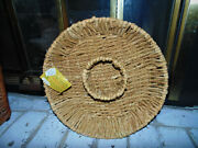 Nwt Water Hyacinth Home Essentials Woven 15 Round Chip N Dip Candle Basket Tray