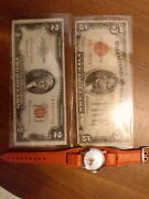 Us Red Bank Notes Circulated/vintage Bradley Swiss Mickey Mouse Watch
