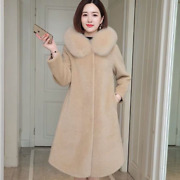 Womens Wool Coats Long Jacket Cashmere Loose Hooded Fur Collar Warm Casual Plus