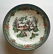 Royal Stafford Christmas Village Cottage House Pasta Serving Bowl 9 Winter Snow