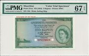 The Government Of Mauritius 5 Rupees Nd1954 Color Trial Specimen Pmg 67epq