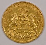 1887 Germany/hamburg 20 Mark Gold Coin Shield With Lions