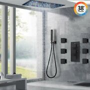 Thermostatic Shower Faucet Set 32and039and039x16 Rainfall Led Shower Head Massage System