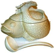 1976 Fitz And Floyd Koi Fish Large Soup Tureen And Ladle Pristine Condition