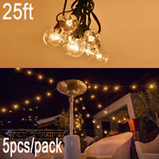 5pcs 25ft G40 Holiday Decorative Led Filament Outdoor Patio Globe String Lights