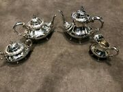 4 Piece Reed And Barton 670 Georgian Rose Sterling Silver Coffee And Tea Set